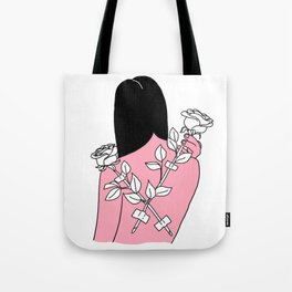 Roses on her back Tote Bag