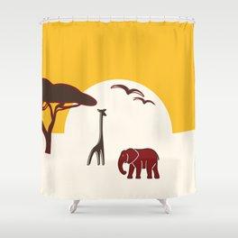 Savannah with elephant and giraffe Shower Curtain