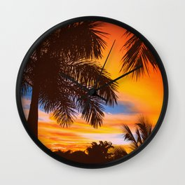 Tropical trees by the beach in Central America, Guanacaste, Costa Rica Wall Clock
