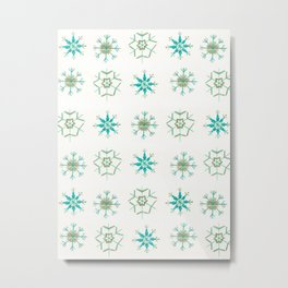 Snowflakes Pattern #1 #drawing #mint #gold #decor #art #society6 Metal Print