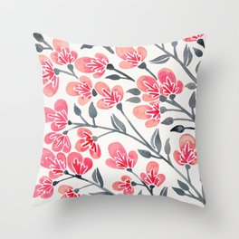 Cherry Blossoms – Pink & Black Palette Throw Pillow