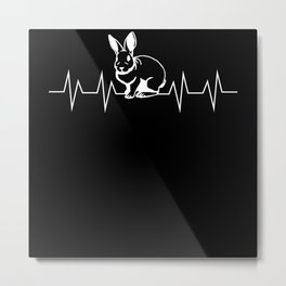 Bunny Heartbeat Rabbit Pulse Gift Metal Print