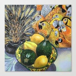 Yellow Parrots Canvas Print