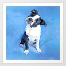 Cute Boston Terrier Puppy Painting Art Print