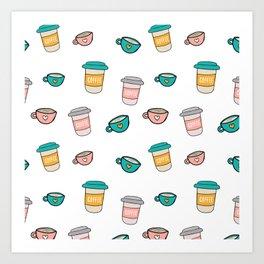 Happy coffee cups and mugs Art Print