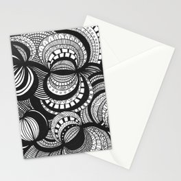 Circles and arcs drawing inspired by zentangle patterns Stationery Cards