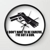 gun Wall Clocks featuring gun by muffa