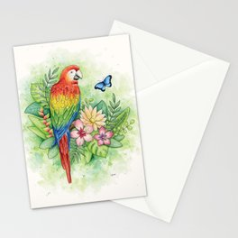 Scarlet Macaw - tropical rainforest illustration Stationery Cards