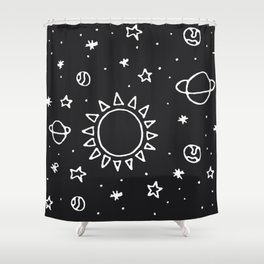 Planets Hand Drawn Shower Curtain
