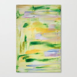 Blooming orchard: minimal, acrylic abstract painting in spring green and yellow / Variation Eight Canvas Print