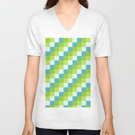 Apples and Pears - Pixelated Pattern with blues and green  Unisex V-Neck