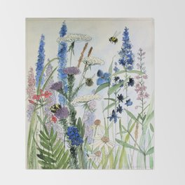 Wildflower in Garden Watercolor Flower Illustration Painting Throw Blanket