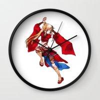 manga Wall Clocks featuring Manga Hero by SpaceMonolith