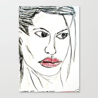 angelina jolie Canvas Prints featuring ANGELINA JOLIE by JANUARY FROST