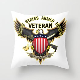 United States Armed Forces Military Veteran - Proudly Served Throw Pillow