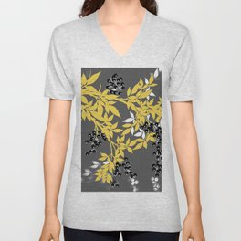 TREE BRANCHES YELLOW GRAY  AND BLACK LEAVES AND BERRIES Unisex V-Neck