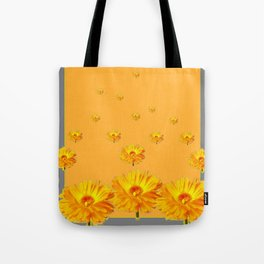 FLOATING GOLDEN FLOWERS  GREY COLLAGE Tote Bag