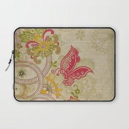 Raw Linen Texture Vines and Flowers // Art Nouveau Butterfly Laptop Sleeve