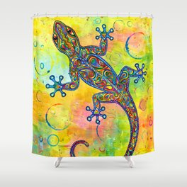 Electric Gecko Psychedelic Paisley Lizard Shower Curtain