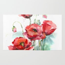 Watercolour poppy rugs society6 watercolor red poppies flowers rug mightylinksfo