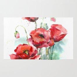 Watercolor red poppies flowers Rug