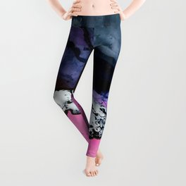 Pink and Navy Mixed Media Painting Leggings