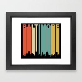 Retro 1970's Baltimore Maryland Downtown Skyline Framed Art Print
