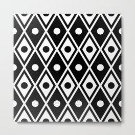 Harlequin Pattern Black & White Metal Print