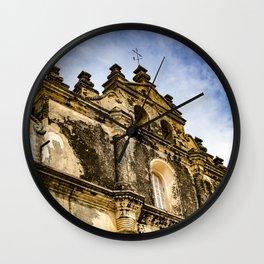 View of the Top of the Catholic Church Iglesia La Merced, Granada, Nicaragua Wall Clock