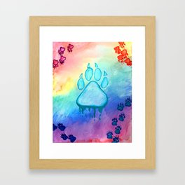 Painted Paw Prints on the Heart Framed Art Print