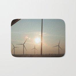 Wind turbine sunset Bath Mat