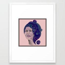 Woman wearing elaborate scarf Framed Art Print