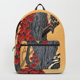 Ohara Koson - Top Quality Art - Great Spotted Woodpecker Backpack