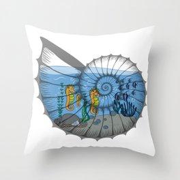 Ocean Life in a shell, sea life, sea horses family, snail shell art Throw Pillow