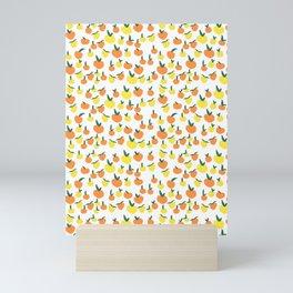Handdrawn Lemons and Oranges Pattern Mini Art Print