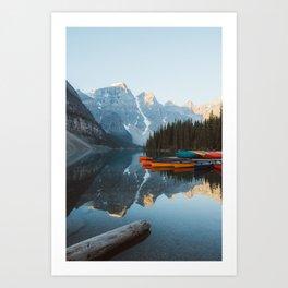 Moraine Lake Canoes Art Print
