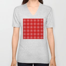 Christmas Snowflake Stars Pattern in Holly Jolly Red Unisex V-Neck