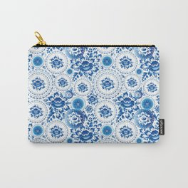 Vintage shabby Chic pattern with blue flowers and leaves Carry-All Pouch