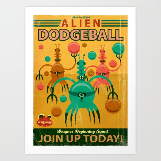 Alien Dodgeball Art Print