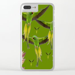 FLOCK OF GREEN FLYING FAIRY BIRDS  & PEACH FLOWERS ART Clear iPhone Case