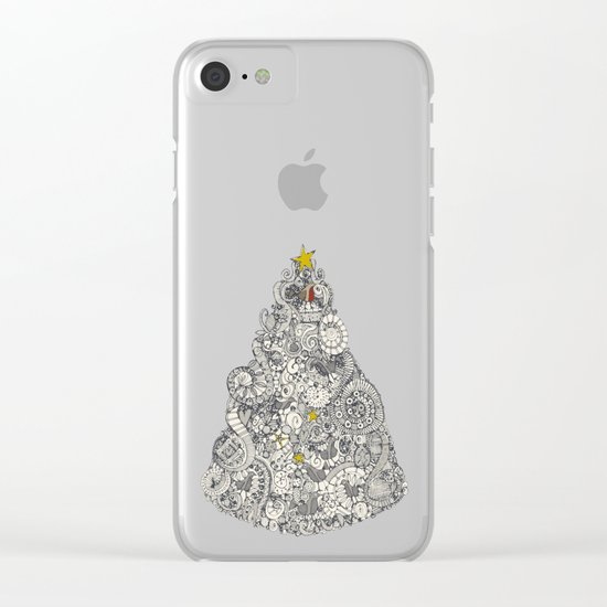 christmas robin tree Clear iPhone Case