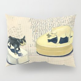 Vintage Pig and Dog Celluloid Boxes in Gouache Pillow Sham