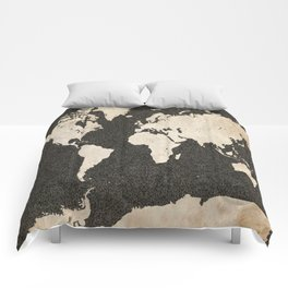 World Map - Ink lines Comforters