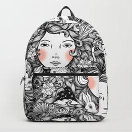 Fantails and Rabbits Ink Design Backpack