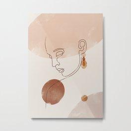 Abstract Face Woman Metal Print