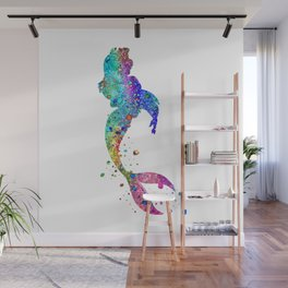 Mermaid Art Colorful Watercolor Gift Ocean Artwork Mermaid Lovers Wall Mural