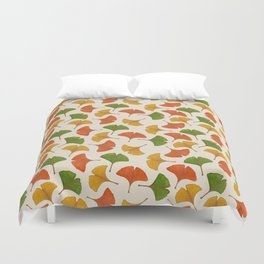 Fall ginkgo biloba leaves pattern Duvet Cover