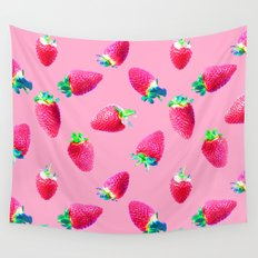 Pink Strawberry Pop Wall Tapestry