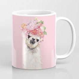 Llama with Flower Crown in Pink Coffee Mug