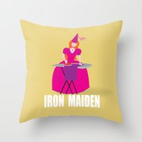 iron maiden Throw Pillows featuring IRON MAIDEN by mangulica